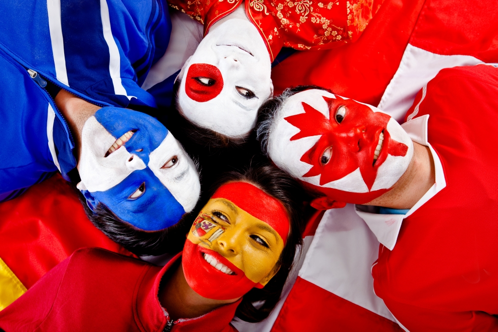 Language Translation Agency in Cambridge - Group of people with flags of different countries on their faces