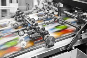 Close up of an offset printing machine-web