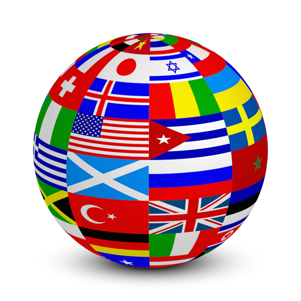 globe with the flags - Translation services