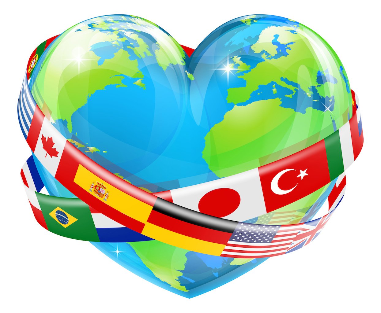 heart shaped world earth globe with the flag - Translation ...
