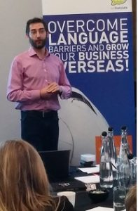David Miles, MD of 'Business Training Made Simple' delivers a presentation on 'How to test the market on a budget' as part of TTC wetranslate's 'Grow your e-commerce website globally' workshop