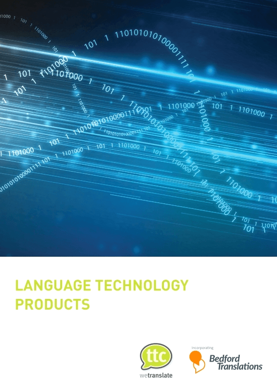 Language Techonology Products by TTC wetranslate Brochure cover