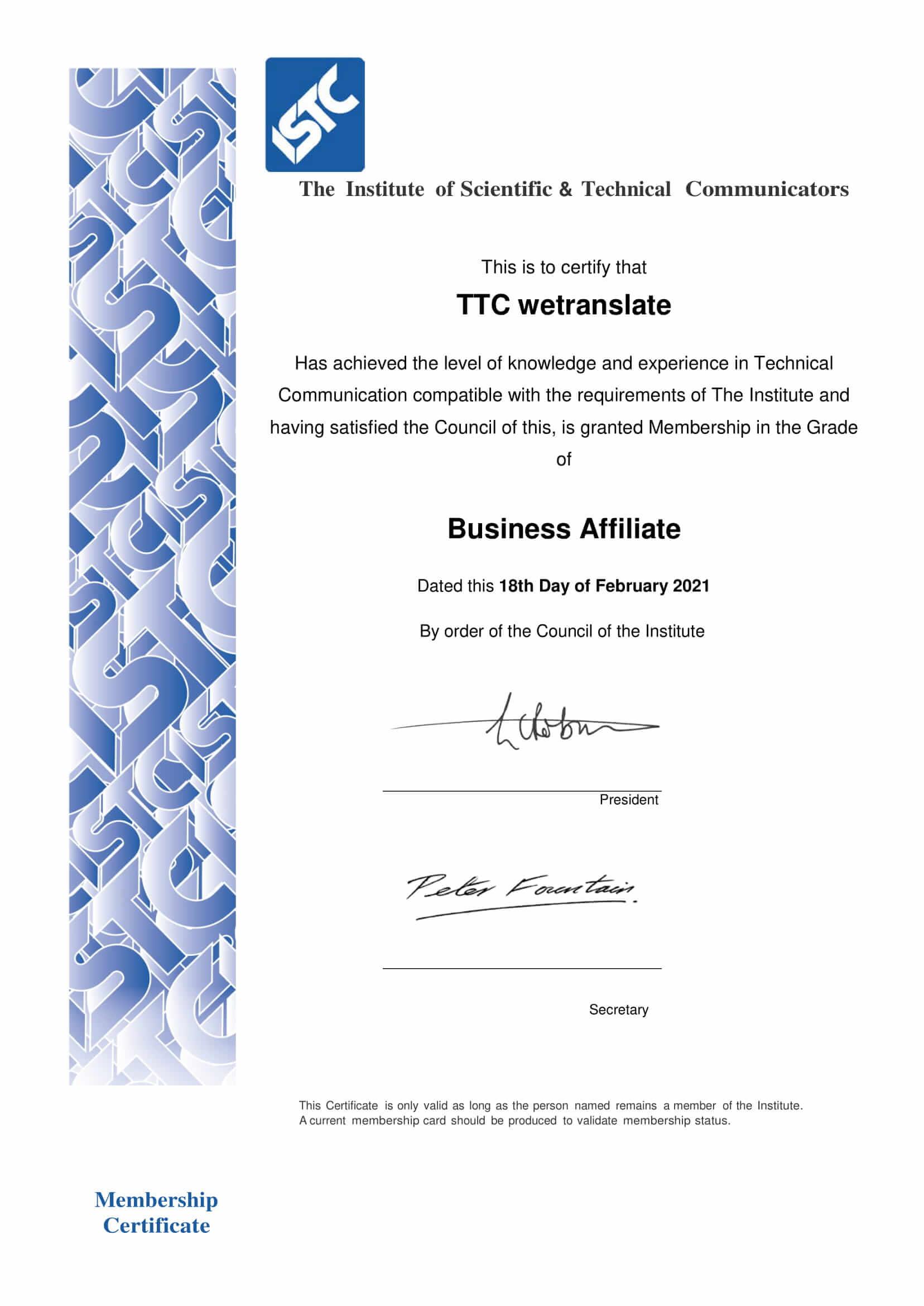 ISTC Membership Certificate TTC wetranslate